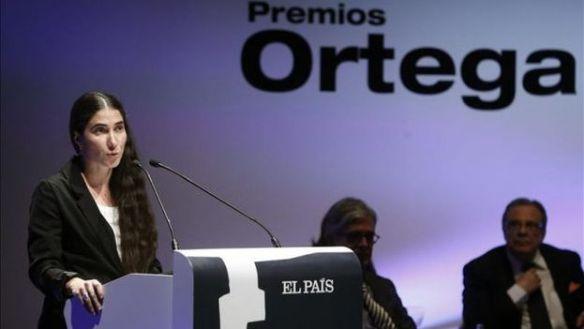 Yoani Sanches spricht bei de Verleihung des Ortega Preises